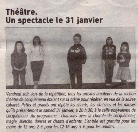 Le Télégramme 20 janvier 2009