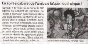 Ouest France 13 février 2013 (cabaret)