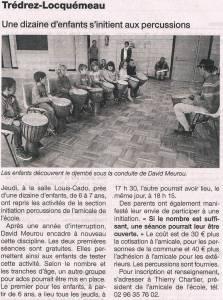 reprise des percussions Ouest France 14 septembre 2013_ld